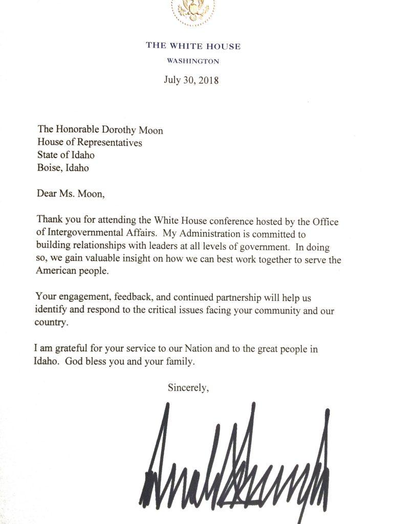 letter from president trump  dorothymoon